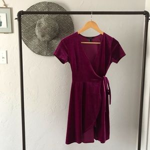 Velvet Maroon Tie-Up Dress